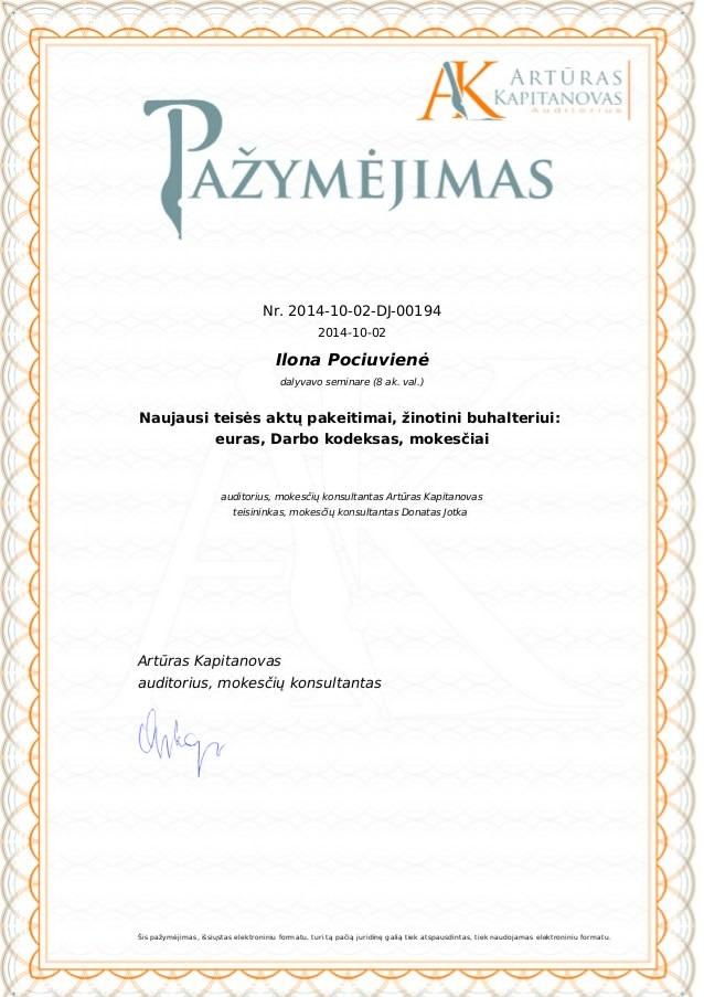 UAB Instrukcija, Ilona Pociuvienė. Pažymėjimas